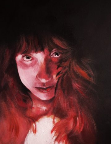 'Sorceress of the Blood Moon' - Rebecca Deegan Acrylic Painting Portrait