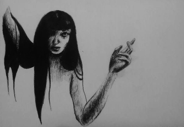 Charcoal Drawing Rebecca Deegan Spooky Hand Long Hair Self Portrait Creepy