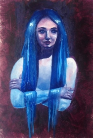 Oil painting Rebecca Deegan Blue hair figure painting