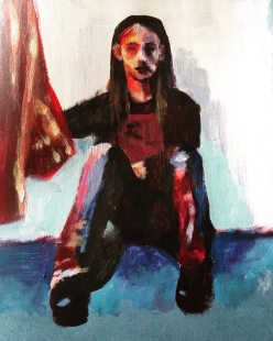 Chris - acrylic on paper - clothed figure study - SOLD