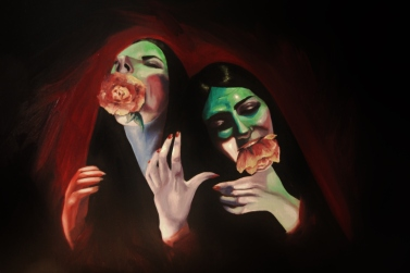 'Choke' - Oil and acrylic painting on canvas - figure painting - rose - Rebecca Deegan
