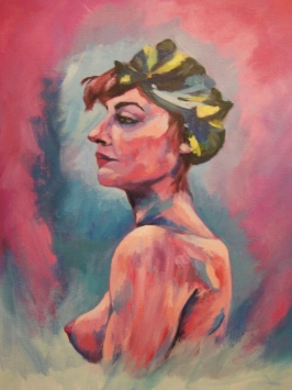 'French Lady' - Acrylics on canvas - Rebecca Deegan
