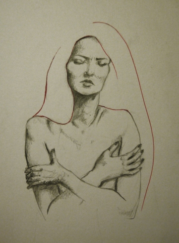 Figure Drawing Rebecca Deegan Nude Pencil Graphite Hands Red Pen Ink