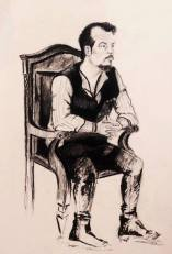 'Count Jackula' Jack Lukeman Musician Portrait Drawing Figurative Art Charcoal Pencil Vampire