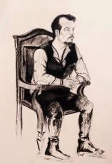 'Count Jackula' Jack Lukeman Musician Portrait Drawing Figurative Art Charcoal Pencil Vampire