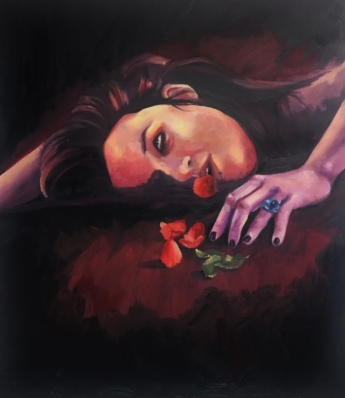 'Swallow' - Oil and acrylic painting on canvas - rose - petal - thorn - eyes - death - Rebecca Deegan