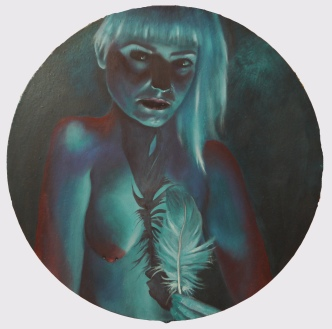 'My Favourite Dreams of You' - oil on circular board - 48cm diameter - Rebecca Deegan