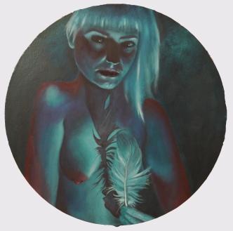 'My Favourite Dreams of You' - oil on circular board - 48cm diameter - Rebecca Deegan
