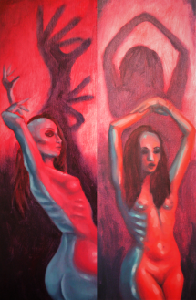 """Fallen"" & ""Angel"" oil on canvas, both sold"